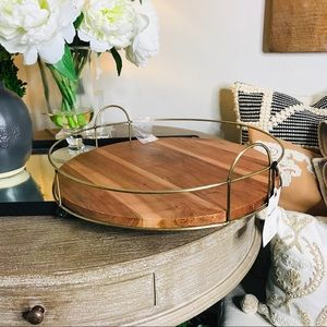 Hearth and hand wood metal tray new